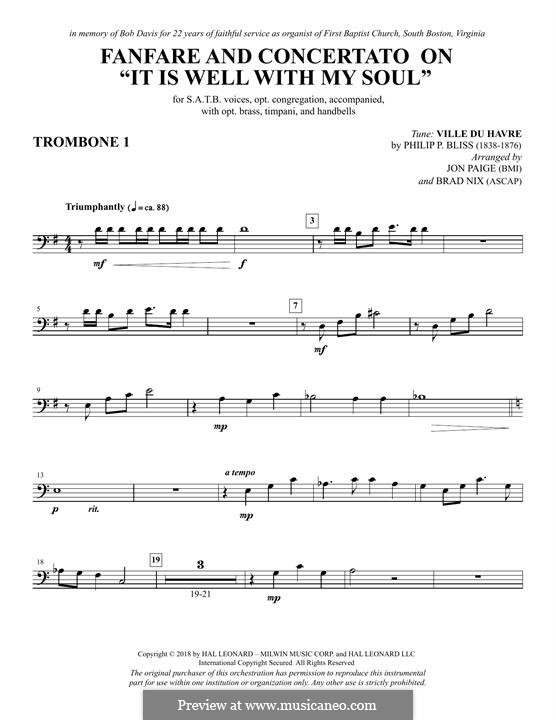 Fanfare and Concertato on 'It Is Well with My Soul': Trombone 1 part by Philip Paul Bliss