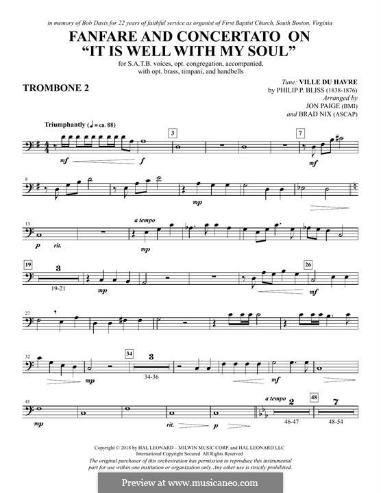 Fanfare and Concertato on 'It Is Well with My Soul': Trombone 2 part by Philip Paul Bliss
