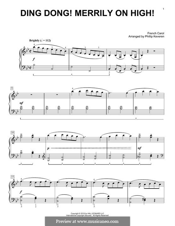 Ding Dong! Merrily on High (Printable Scores): For piano (classical version) by folklore