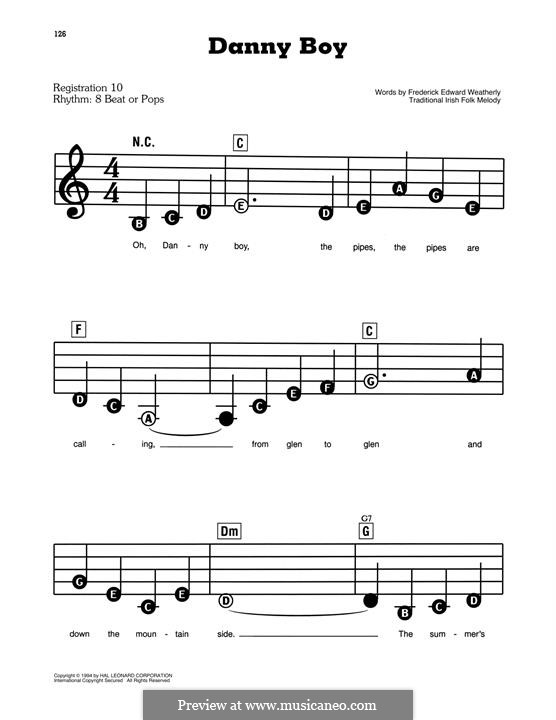 Danny Boy (Printable Scores): Facil para o piano by folklore