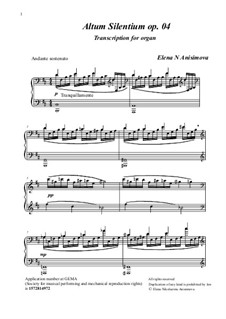 Altum Silentium, Op.04: For organ by Elena Nikolaevna Anisimova