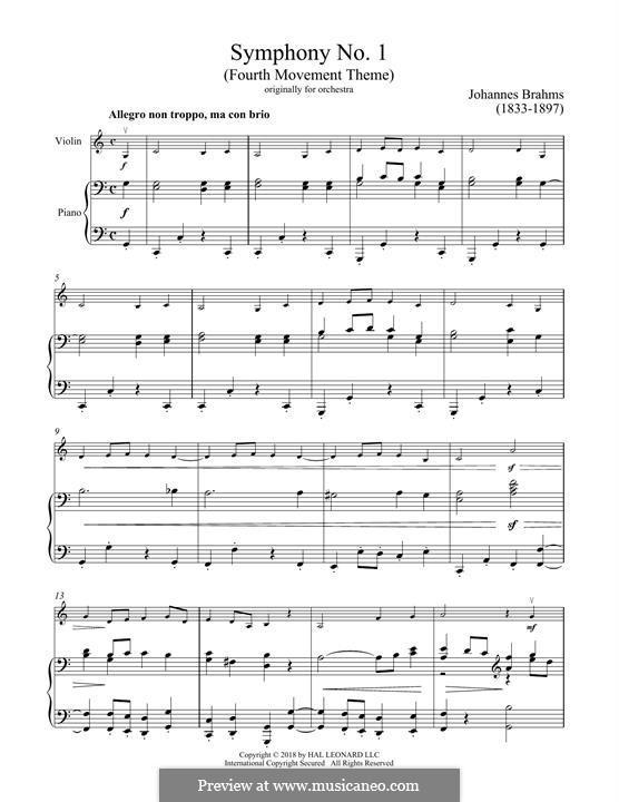Movement IV: Excerpt. Version for violin and piano by Johannes Brahms