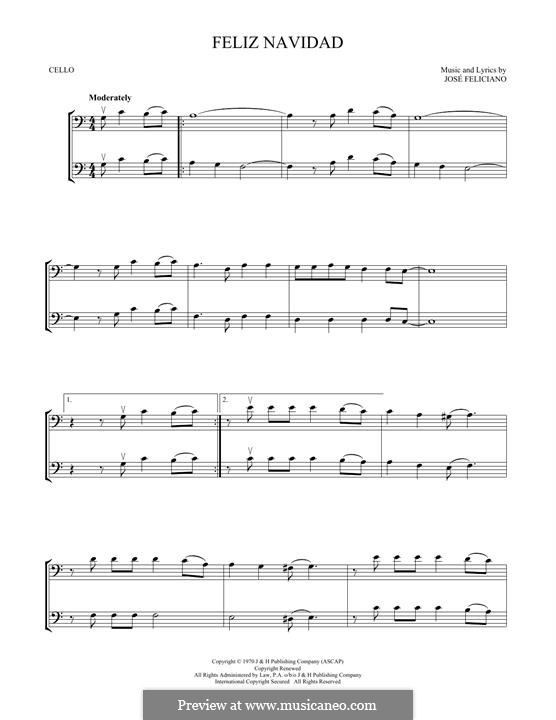 Feliz Navidad: para dois violoncelo by José Feliciano
