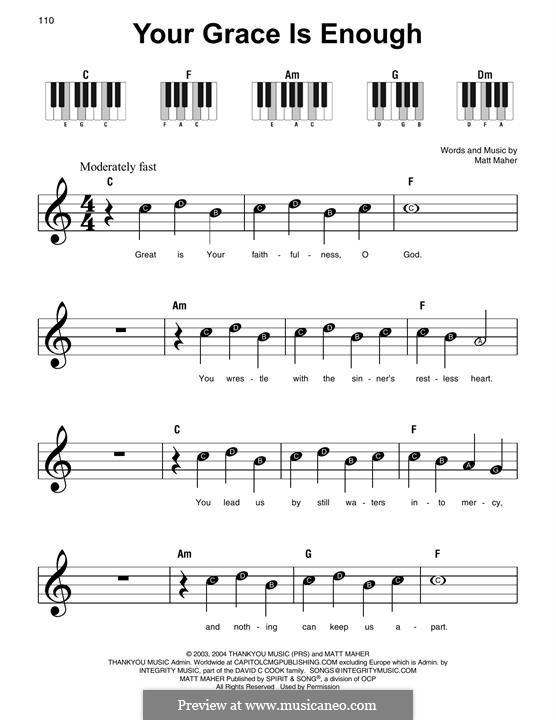 Your Grace is Enough: Facil para o piano by Matt Maher