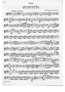 String Quartet No.11 in E Major, D.353 Op.125 No.2: parte viola by Franz Schubert
