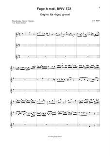 Fugue in G Minor 'Little', BWV 578: Para tres guitarras by Johann Sebastian Bach