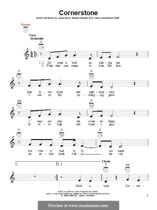 Cornerstone (Hillsong): para ukulele by Jonas Myrin, Reuben Morgan, Eric Liljero