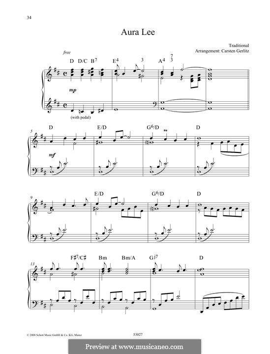 Aura Lee - Love me tender : Para Piano by folklore
