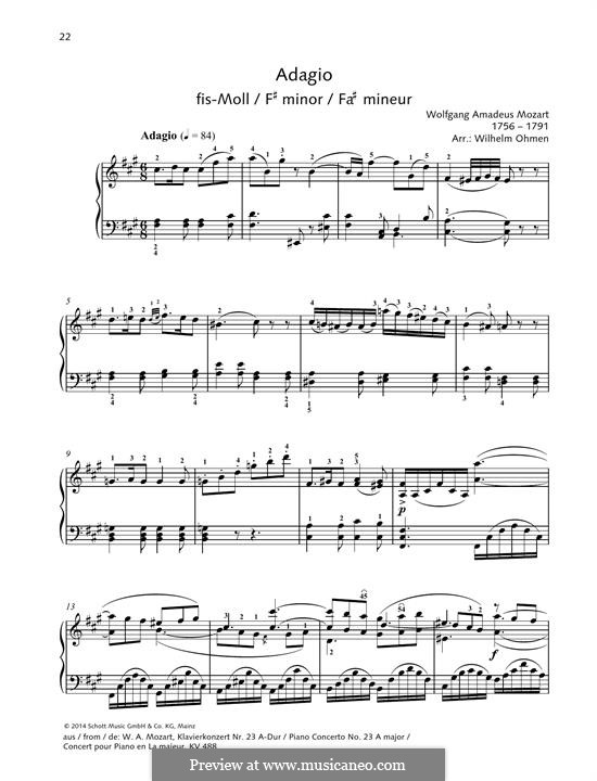Concerto for Piano and Orchestra No.23 in A Major, K.488: Adagio. Version for piano by Wolfgang Amadeus Mozart