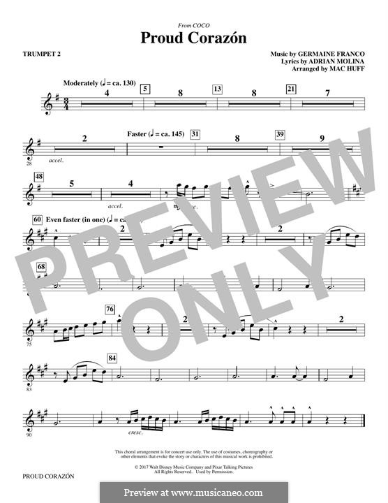 Proud Corazon (from 'Coco'): Trumpet 2 part by Germaine Franco