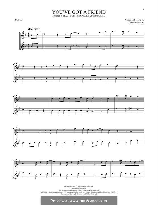 You've Got a Friend: para duas flautas by Carole King