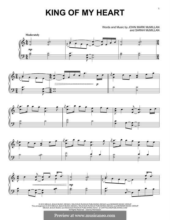 King of My Heart: For piano by Sarah McMillan, John Mark McMillan