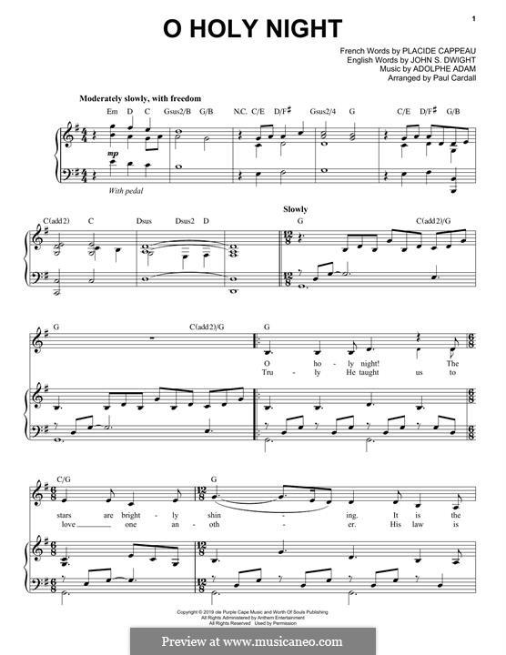 O Holy Night (Printable Scores): Para vocais e piano by Adolphe Adam