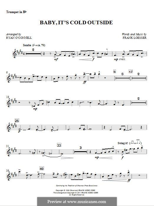 Baby, it's Cold Outside: Bb Trumpet part (Ryan O'Connell) by Frank Loesser
