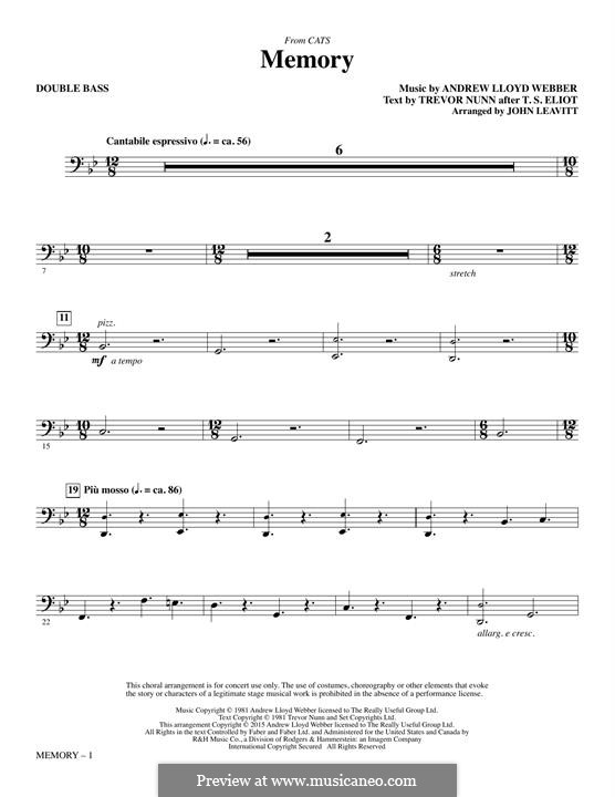 Memory (from Cats): Double Bass part (arr. John Leavitt) by Andrew Lloyd Webber