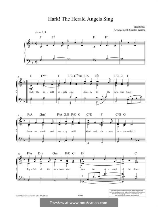 Hark! The Herald Angels Sing: Para Piano by folklore