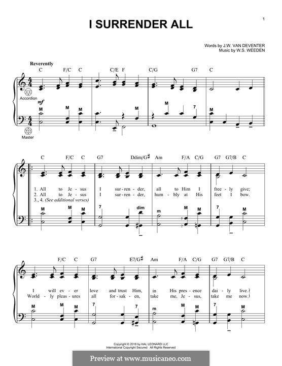 I Surrender All: para acordeão by Winfield Scott Weeden
