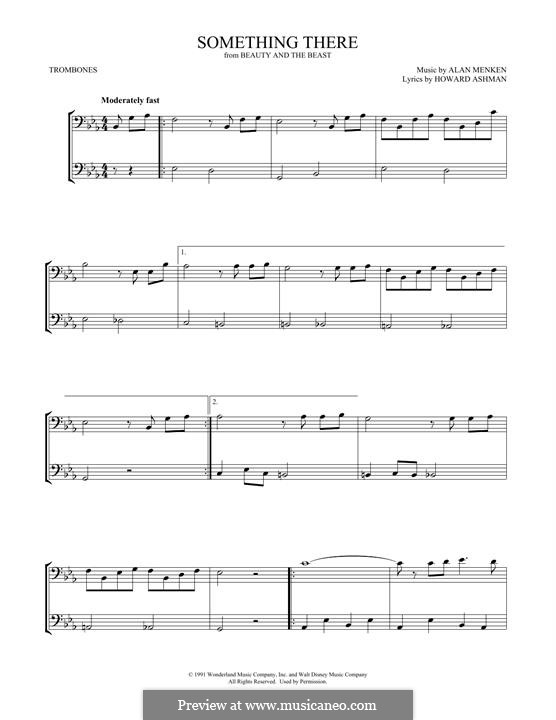 Something There (from Beauty and the Beast): For two trombones by Alan Menken