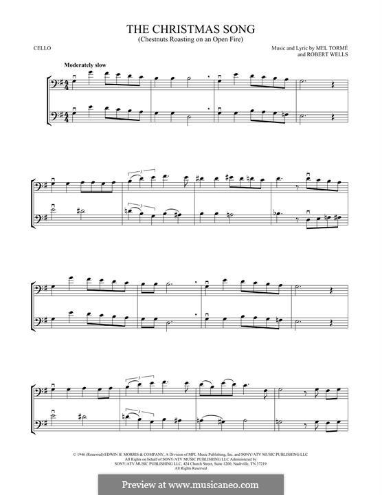 The Christmas Song (Chestnuts Roasting on an Open Fire): para dois violoncelo by Mel Tormé, Robert Wells
