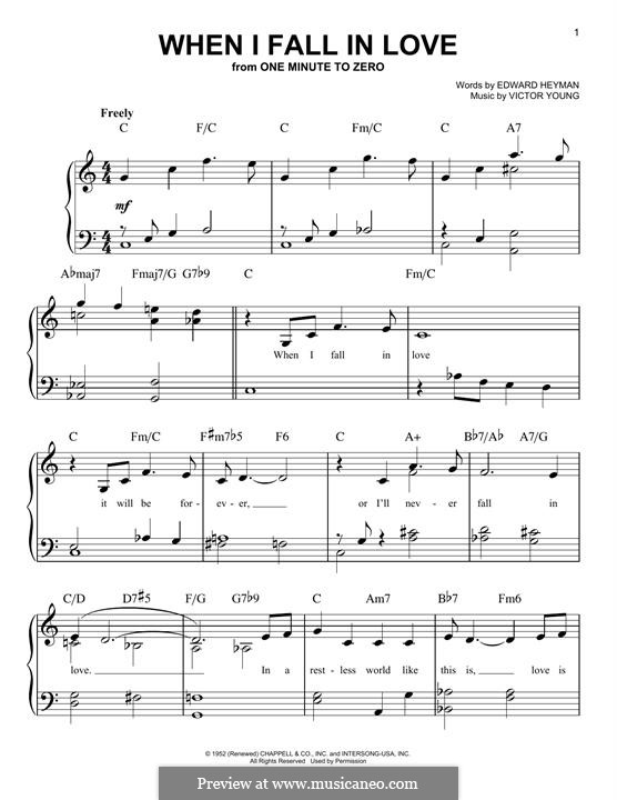 When I Fall in Love (Celine Dion): Para Piano by Victor Young