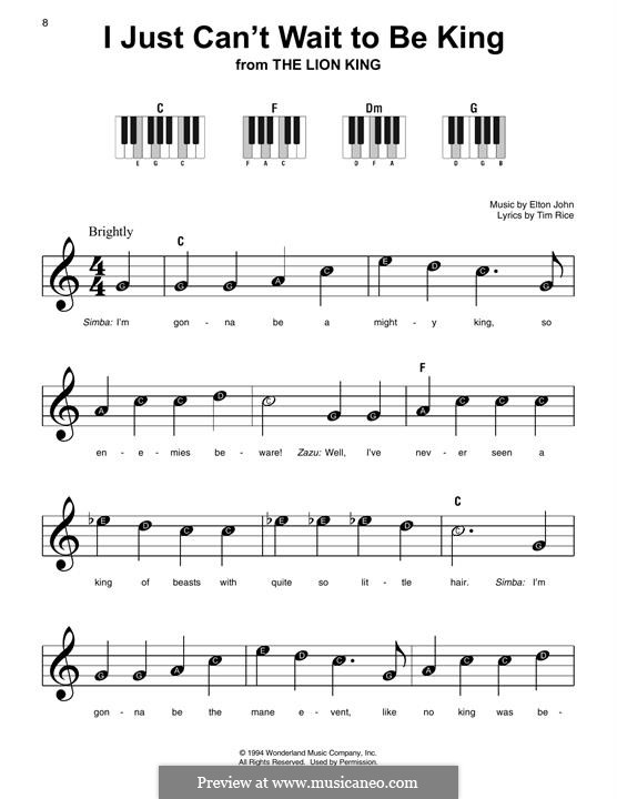 I Just Can't Wait To Be King (from The Lion King): Facil para o piano by Elton John