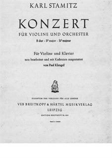 Concerto for Violin and Orchestra in B Flat Major: versão para violino e piano - parte violino by Carl Stamitz