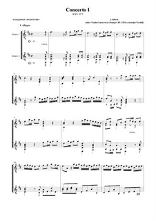 Concerto for Keyboard in D Major, BWV 972: para duas guitarras by Johann Sebastian Bach