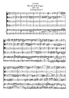 The Art of Fugue, BWV 1080: No.1-10. For string quartet and harpsichord by Johann Sebastian Bach