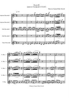 Пьеса No.3 для квинтета блокфлейт ССААТ, MH 221119: Пьеса No.3 для квинтета блокфлейт ССААТ by Maks Horosh