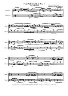 No.1 in C Major, BWV 772: For two marimbas by Johann Sebastian Bach