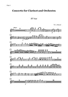 Concerto for Clarinet and Orchestra in A Major, K.622: partes by Wolfgang Amadeus Mozart