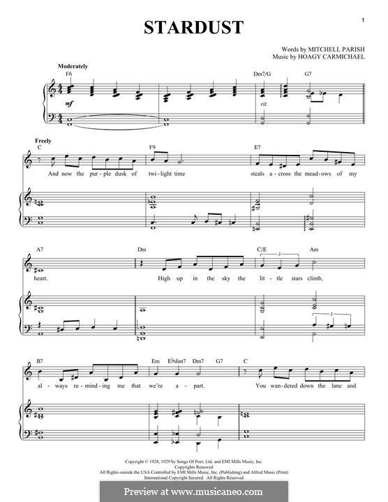 Stardust (Frank Sinatra): Para vocais e piano by Hoagy Carmichael