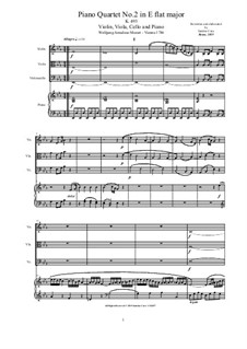 Quartet for Piano and Strings No.2 in E Flat Major, K.493: Score and parts by Wolfgang Amadeus Mozart