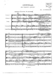Serenade for String Orchestra: partitura completa by Vasily Kalinnikov