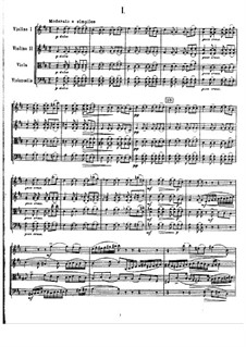 String Quartet No.1 in D Major, TH 111 Op.11: partitura completa by Pyotr Tchaikovsky