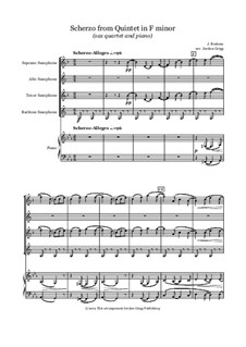 Piano Quintet in F Minor, Op.34: Scherzo, for sax quartet and piano by Johannes Brahms