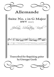 Suite for Cello No.1 in G Major, BWV 1007: Allemande, for acoustic guitar (flatpicking) by Johann Sebastian Bach