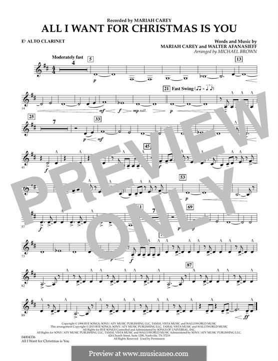 All I Want for Christmas is You: Eb Alto Clarinet part (arr. Michael Brown) by Mariah Carey, Walter Afanasieff