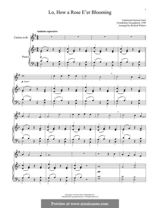 Lo, How a Rose E'er Blooming: para clarinete e piano by folklore