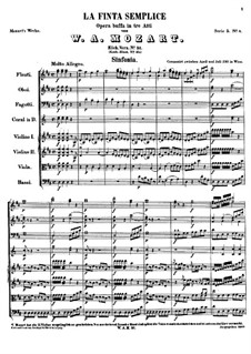 The Pretended Simpleton, K.51: partitura completa by Wolfgang Amadeus Mozart