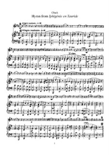Iphigenia in Tauris, Wq.46: Hymn, for flute and piano – score by Christoph Willibald Gluck