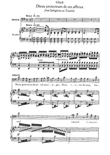 Iphigenia in Tauris, Wq.46: Dieux protecteurs de ces affreux, for voice and piano by Christoph Willibald Gluck