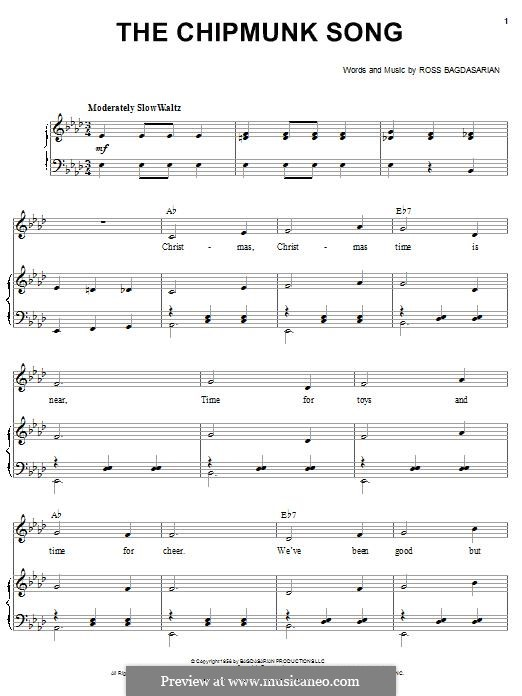 The Chipmunk Song (Alvin and the Chipmunks): Para vocais e piano by Ross Bagdasarian