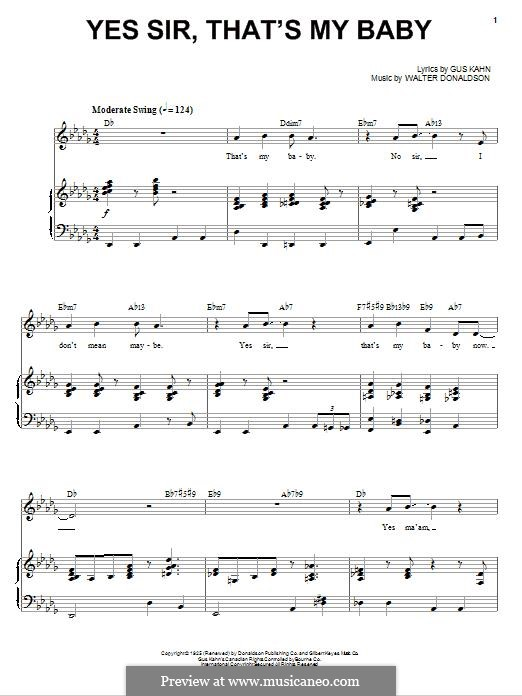 Yes Sir, That's My Baby: Para vocais e piano by Walter Donaldson