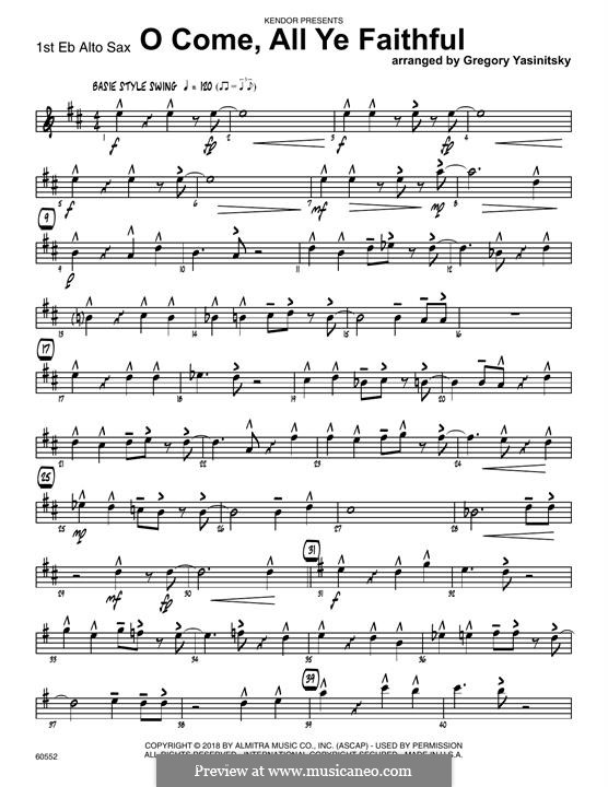 O Come, All Ye Faithful (Printable Scores): 1st Eb Alto Saxophone part by John Francis Wade