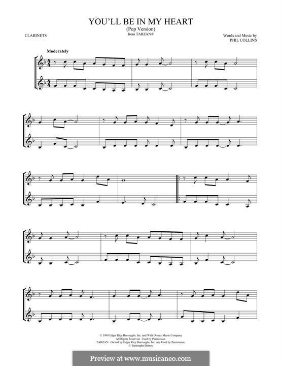 You'll Be in My Heart (from Walt Disney's Tarzan) Pop version: para duas clarinetas by Phil Collins