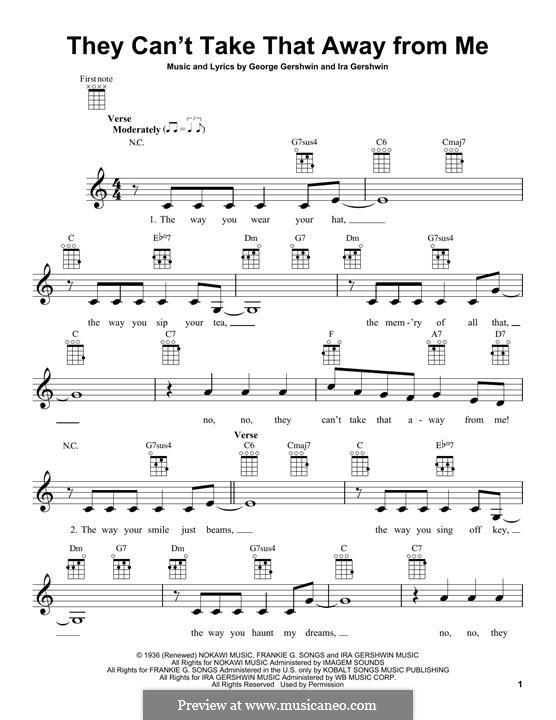 They Can't Take That Away from Me: para ukulele by George Gershwin
