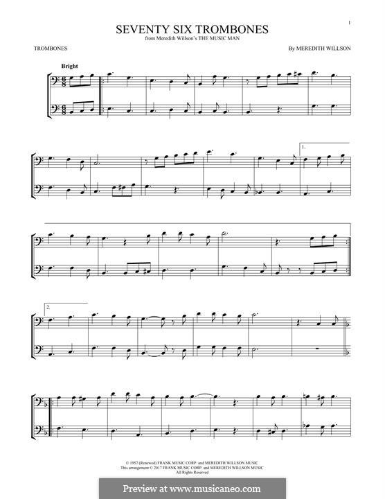 Seventy Six Trombones: For two trombones by Meredith Willson