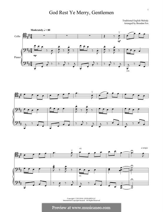 God Rest You Merry, Gentlemen (Printable Scores): para Violoncelo e piano by folklore