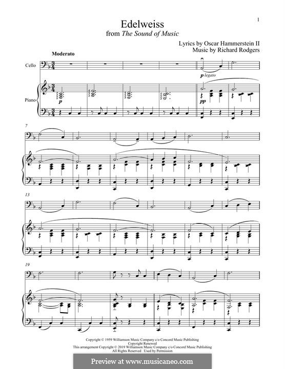 Edelweiss (from The Sound of Music): para Violoncelo e piano by Richard Rodgers
